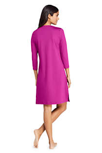 Women's V-neck 3/4 Sleeve UV Protection Swim Cover-up Dress Embroidered, Back