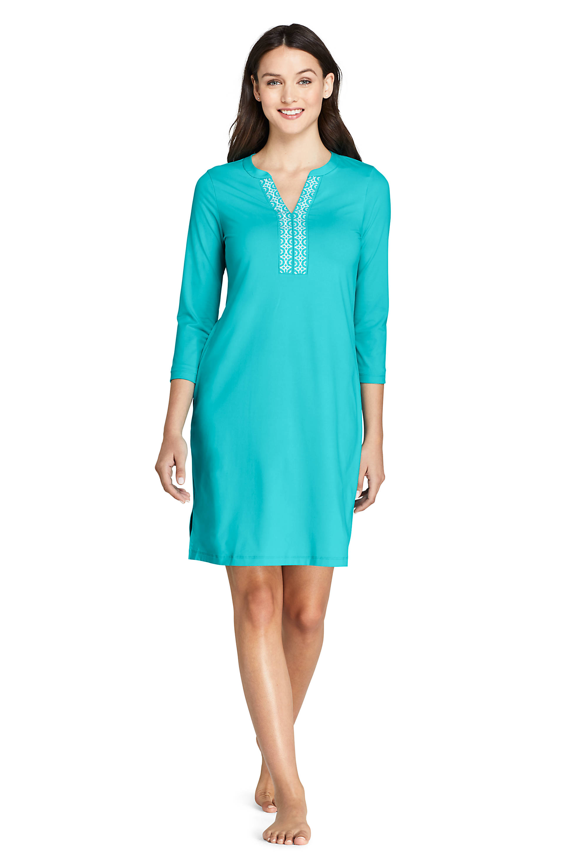 V-Neck 3/4 Sleeve UV Protection Embroidered Cover-Up Dress