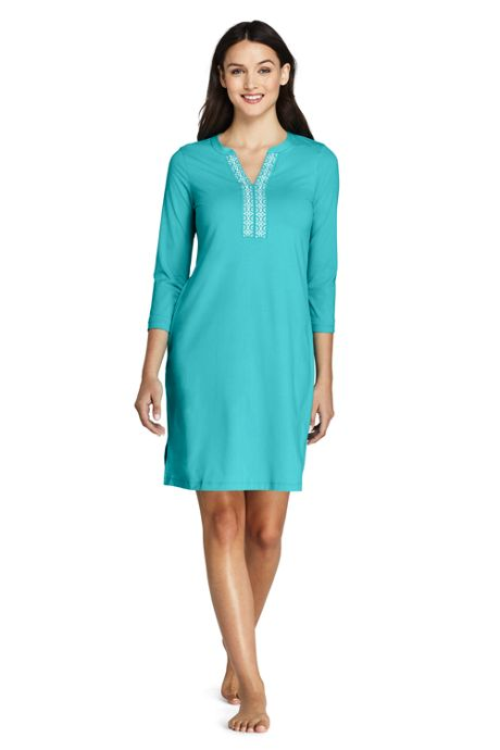Women's Petite V-neck 3/4 Sleeve UV Protection Swim Cover-up Dress Embroidered