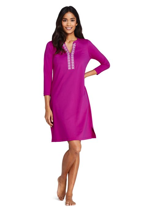 Women's V-neck 3/4 Sleeve UV Protection Swim Cover-up Dress Embroidered