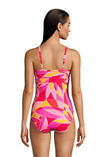 Women's Tummy Control Keyhole High Neck One Piece Swimsuit Adjustable Straps Print, Back