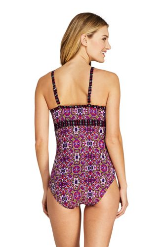 Women's Tummy Control Keyhole High Neck One Piece Swimsuit Adjustable Straps Print