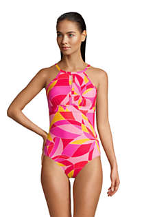 Women's Tummy Control Keyhole High Neck One Piece Swimsuit Adjustable Straps Print, Front