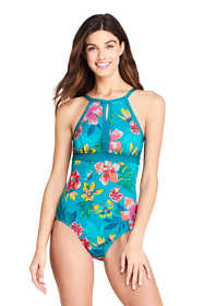 Women's D-Cup Tummy Control Keyhole High Neck One Piece Swimsuit Adjustable Straps Print
