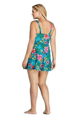 Women's Plus Size Tummy Control Surplice Wrap Swim Dress One Piece Swimsuit Print