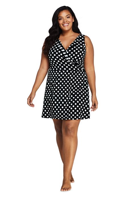 Women's Plus Size Tummy Control Surplice Wrap Swim Dress One Piece Swimsuit Print
