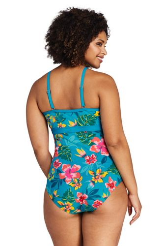 Women's Plus Size Perfect Keyhole One Piece Swimsuit with Tummy Control Print