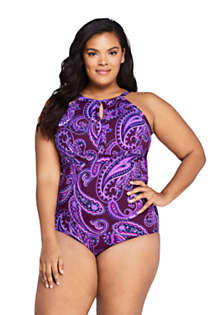 Women's Plus Size Perfect Keyhole One Piece Swimsuit with Tummy Control Print, Front