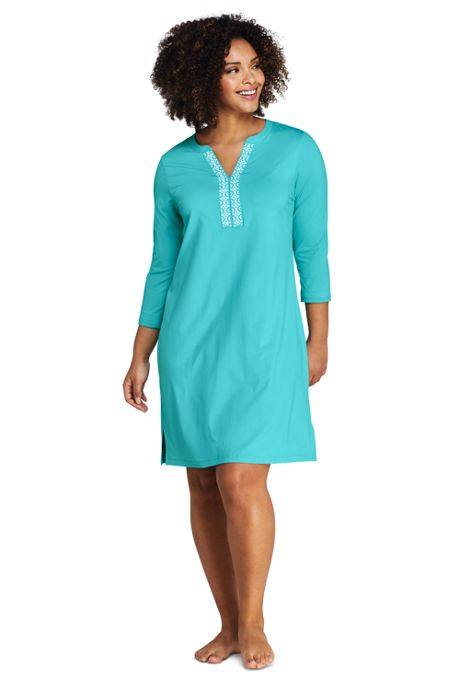 Women's Plus Size V-neck 3/4 Sleeve UV Protection Swim Cover-up Dress Embroidered