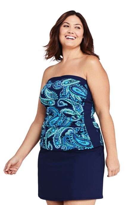 Women's Plus Size Long Strapless Bandeau Tankini Top Swimsuit with Removable and Adjustable Straps