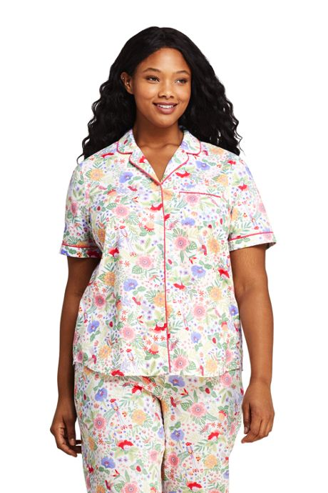 Women's Plus Size Print Short Sleeve Cotton Pajama Shirt