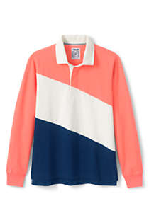 Men's Long Sleeve Colorblock Rugby Shirt, Front