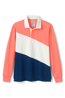 Polo Rugby Rayures Colorblock Manches Longues, Homme
