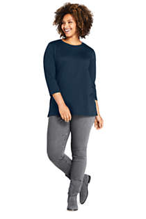 Women's Plus Size 3/4 Sleeve Cotton Supima Crewneck Tunic, Unknown