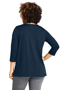 Women's Plus Size 3/4 Sleeve Cotton Supima Crewneck Tunic, Back