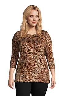 Women's Plus Size 34 Sleeve Cotton Supima Crewneck Tunic