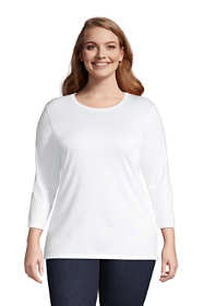 Women's Plus Size 3/4 Sleeve Cotton Supima Crewneck Tunic