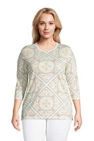 Women's Plus Size 3/4 Sleeve Cotton Supima Crewneck Tunic
