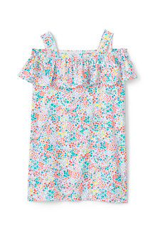 Girls' Cold Shoulder Ruffle Floral Print Dress