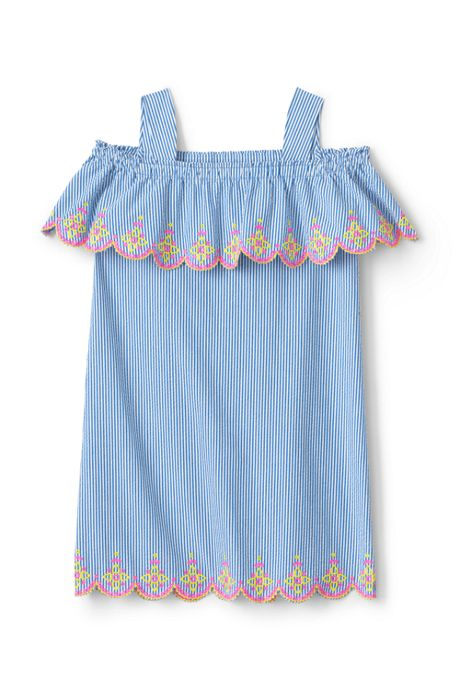 Girls Seersucker Cold Shoulder Dress