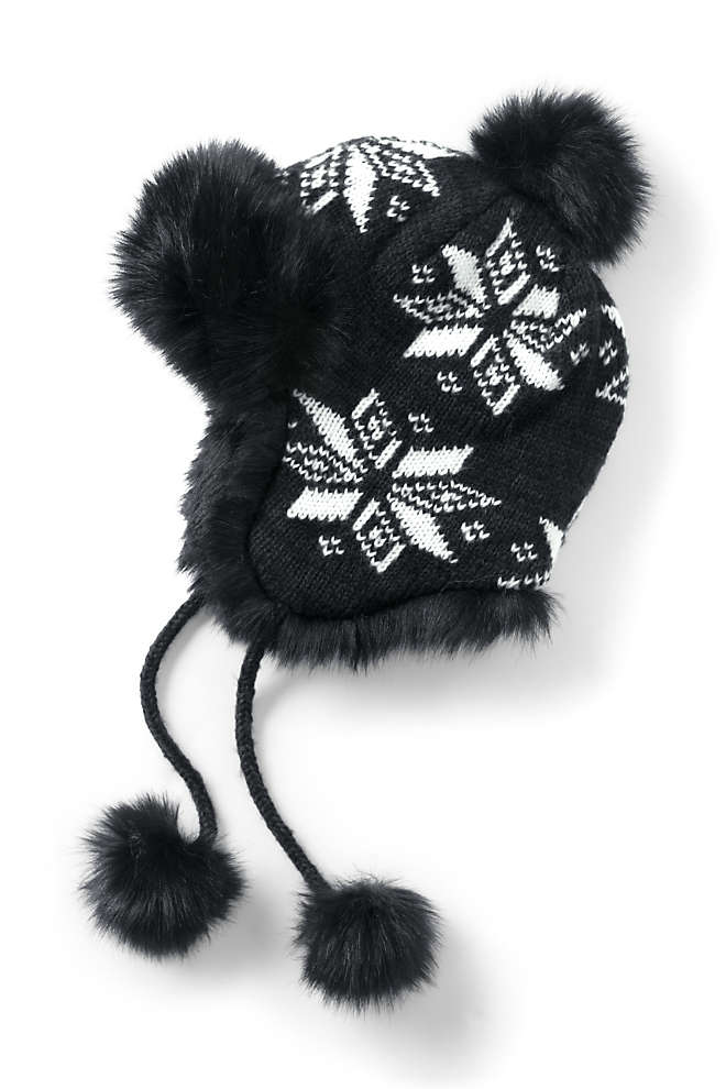 Women's Knit Fairisle Winter Trapper Hat, Front
