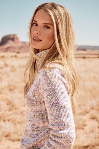 Women's Drifter Shaker Cotton Quarter Zip Mock Neck Sweater