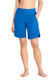 "Women's Petite 9"" Quick Dry Elastic Waist Modest Swim Shorts with Panty"