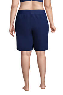 "Women's Plus Size 9"" Quick Dry Elastic Waist Modest Board Shorts Swim Cover-up Shorts with Panty, Back"