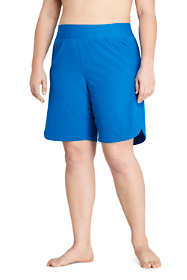 "Women's Plus Size 9"" Quick Dry Elastic Waist Modest Running Board Shorts Swim Shorts"