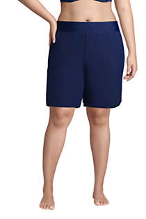 "Women's Plus Size 9"" Quick Dry Elastic Waist Modest Board Shorts Swim Cover-up Shorts with Panty, Front"