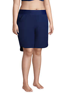 "Women's Plus Size 9"" Quick Dry Elastic Waist Modest Board Shorts Swim Cover-up Shorts with Panty, alternative image"