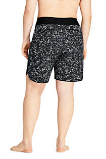 "Women's Plus Size 9"" Quick Dry Elastic Waist Modest Board Swim Cover-up Shorts with Panty Print, Back"