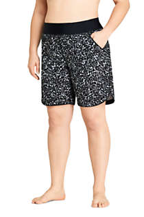"Women's Plus Size 9"" Quick Dry Elastic Waist Modest Board Swim Cover-up Shorts with Panty Print, Front"