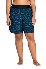 "Women's Plus Size 9"" Quick Dry Elastic Waist Modest Board Shorts Swim Cover-up Shorts Print"