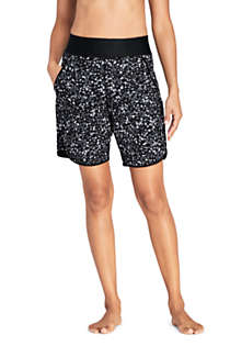 "Women's 9"" Quick Dry Elastic Waist Modest Board Shorts Swim Cover-up Shorts with Panty Print, Front"