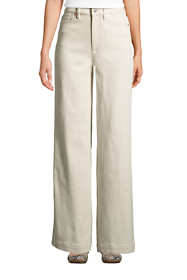 Women's High Rise Wide Leg White Jeans