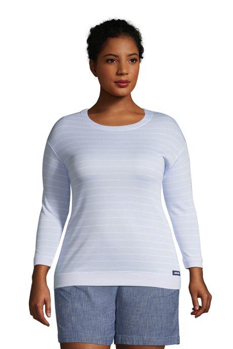 Women's Plus Size Reversible 3/4 Sleeve Top