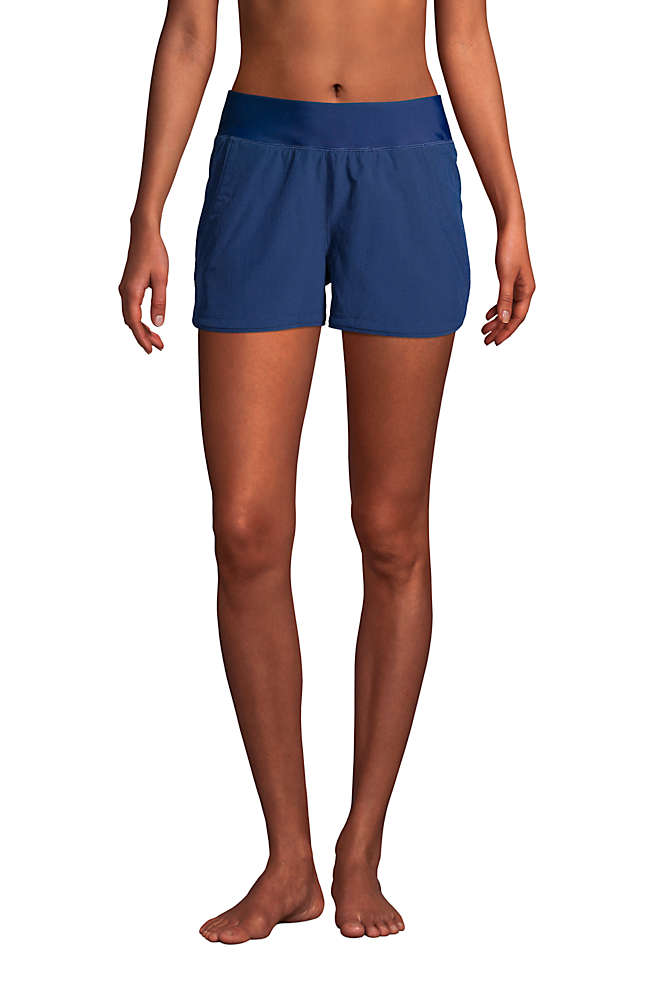 "Women's 3"" Quick Dry Elastic Waist Board Shorts Swim Cover-up Shorts with Panty, Front"