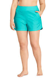 "Women's Plus Size 3"" Quick Dry Elastic Waist Board Shorts Swim Cover-up Shorts with Panty"