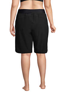 "Women's Plus Size 11"" Quick Dry Elastic Waist Modest Board Shorts Swim Cover-up Shorts with Panty, Back"
