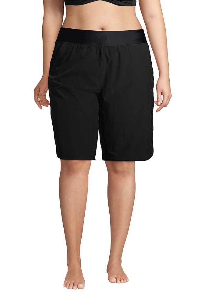 "Women's Plus Size 11"" Quick Dry Elastic Waist Modest Board Shorts Swim Cover-up Shorts with Panty, Front"