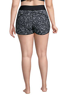 "Women's Plus Size 3"" Quick Dry Elastic Waist Board Shorts Swim Cover-up Shorts with Panty Print, Back"