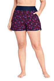 "Women's Plus Size 3"" Quick Dry Elastic Waist Board Shorts Swim Cover-up Shorts with Panty Print"