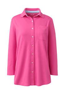 Women's Cotton Knit 3/4 Sleeve Button Down Shirt | Lands' End