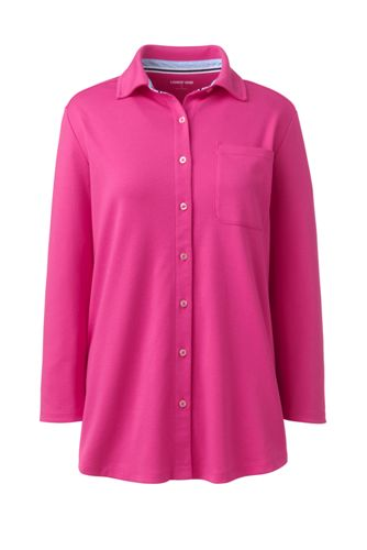 Women's Three-Quarter Sleeve Knit Cotton Shirt