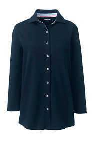 Women's Petite Cotton Knit 3/4 Sleeve Button Down Shirt