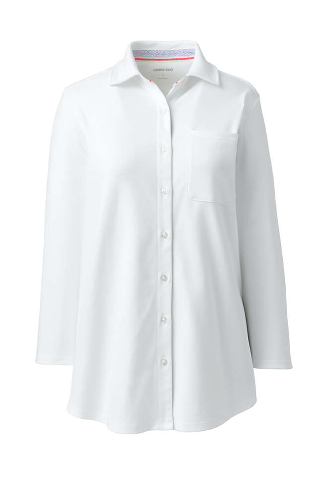 School Uniform Women's Cotton Knit 3/4 Sleeve Button Down Shirt, Front