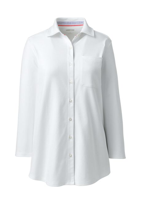 Women's Plus Size Cotton Knit 3/4 Sleeve Button Down Shirt