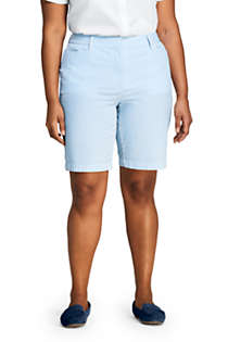 "Women's Plus Size Mid Rise 10"" Chino Seersucker Shorts, Front"