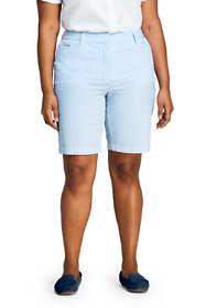 """Women's Plus Size Mid Rise 10"""" Seersucker Shorts"""